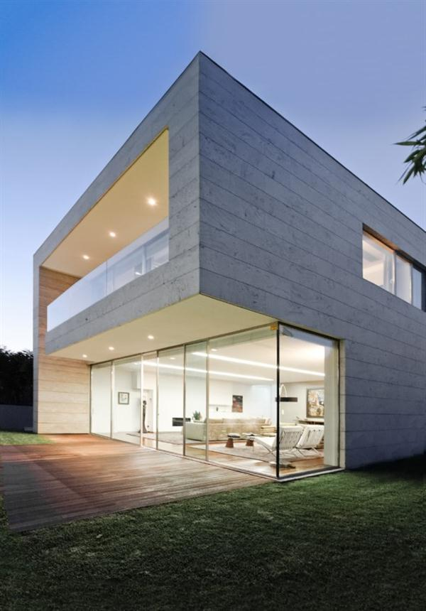 Open block the modern glass and concrete house design by for Concrete block home plans
