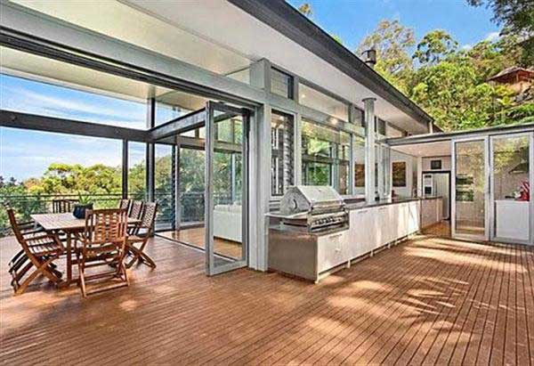 Contemporary Glass House Timber Deck