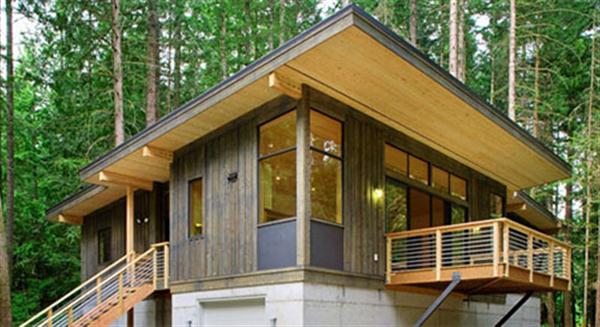 The Green Prefab Cabin Surrounded By Trees In Washington