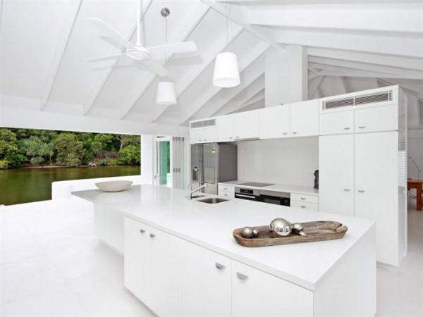 Exposed White Ceiling Beams on White Luxurious Modern Beach House