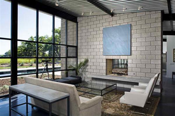 Modern Glass House Design Living Room