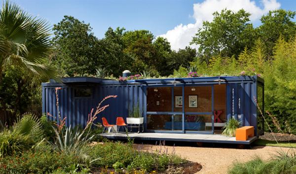 prefab guest house design from recycled blue shipping container