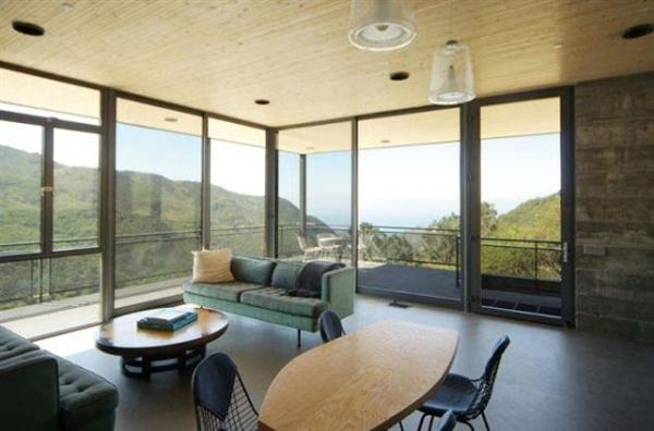 modern hill home  living space